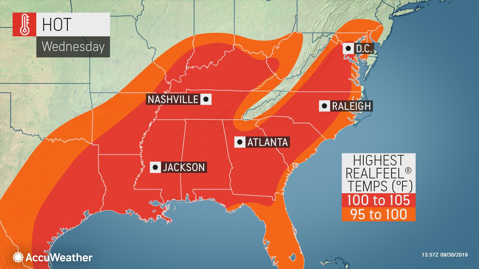 When will the record-challenging heat ease across the South