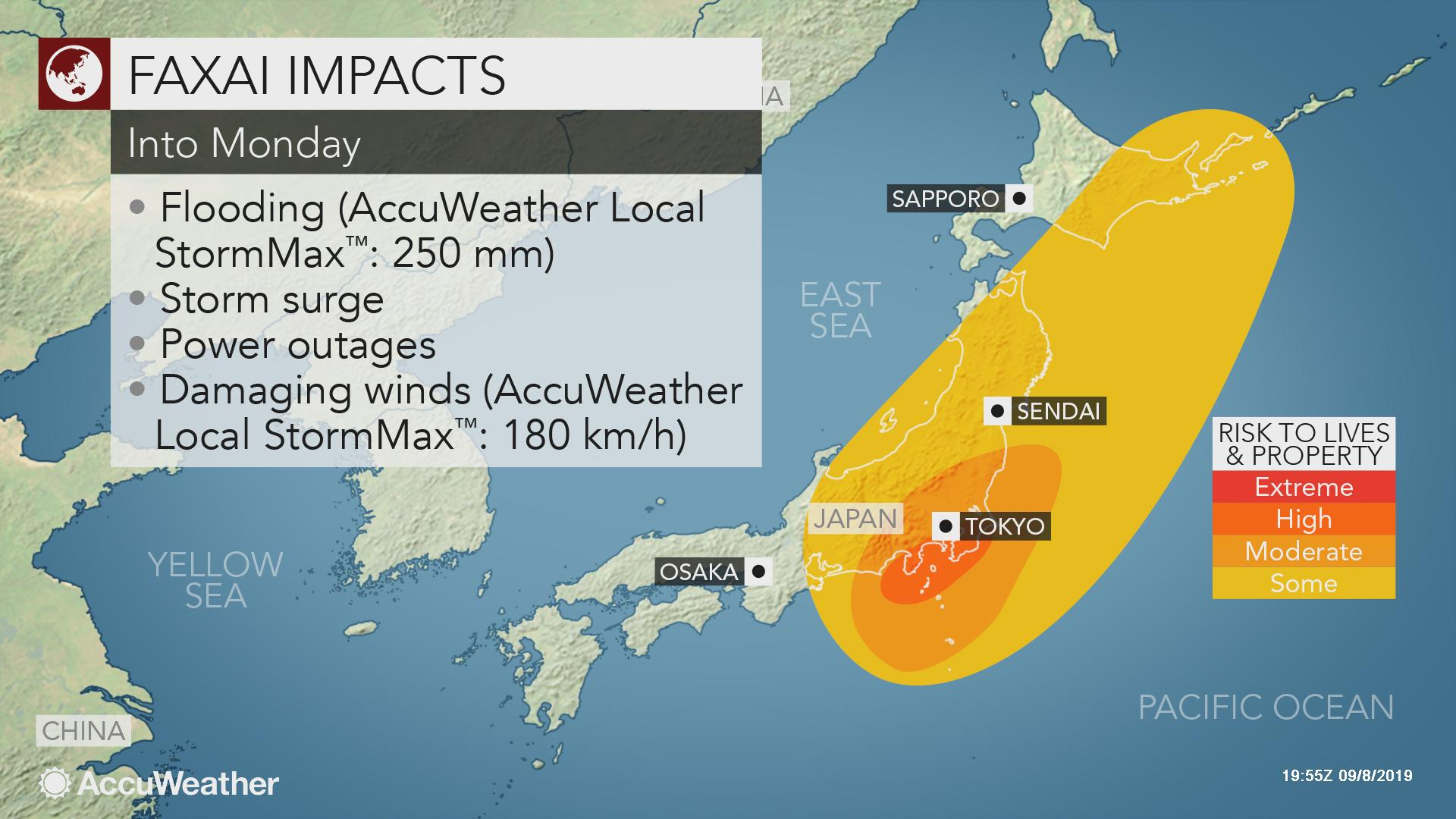 Deadly Typhoon Faxai impacting Tokyo with flooding, high ...