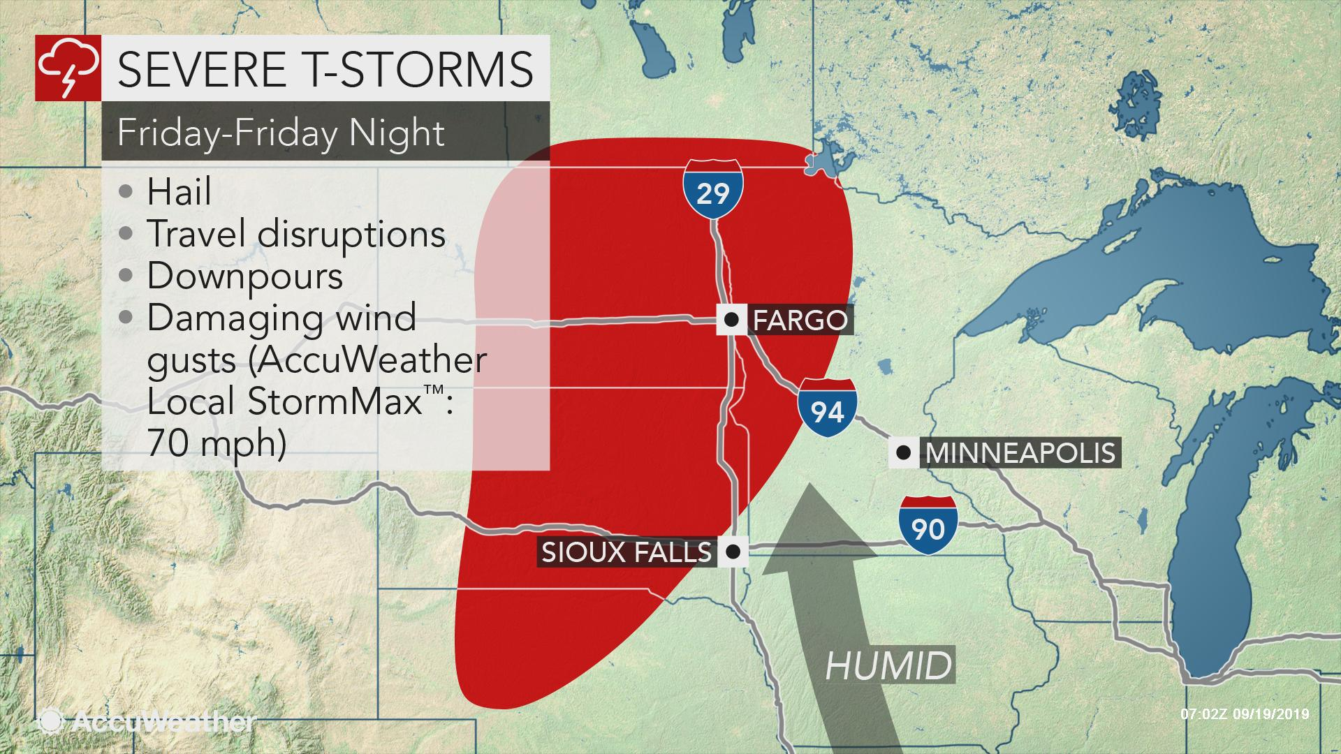 Severe storms to precede cooldown across northern Plains late Friday