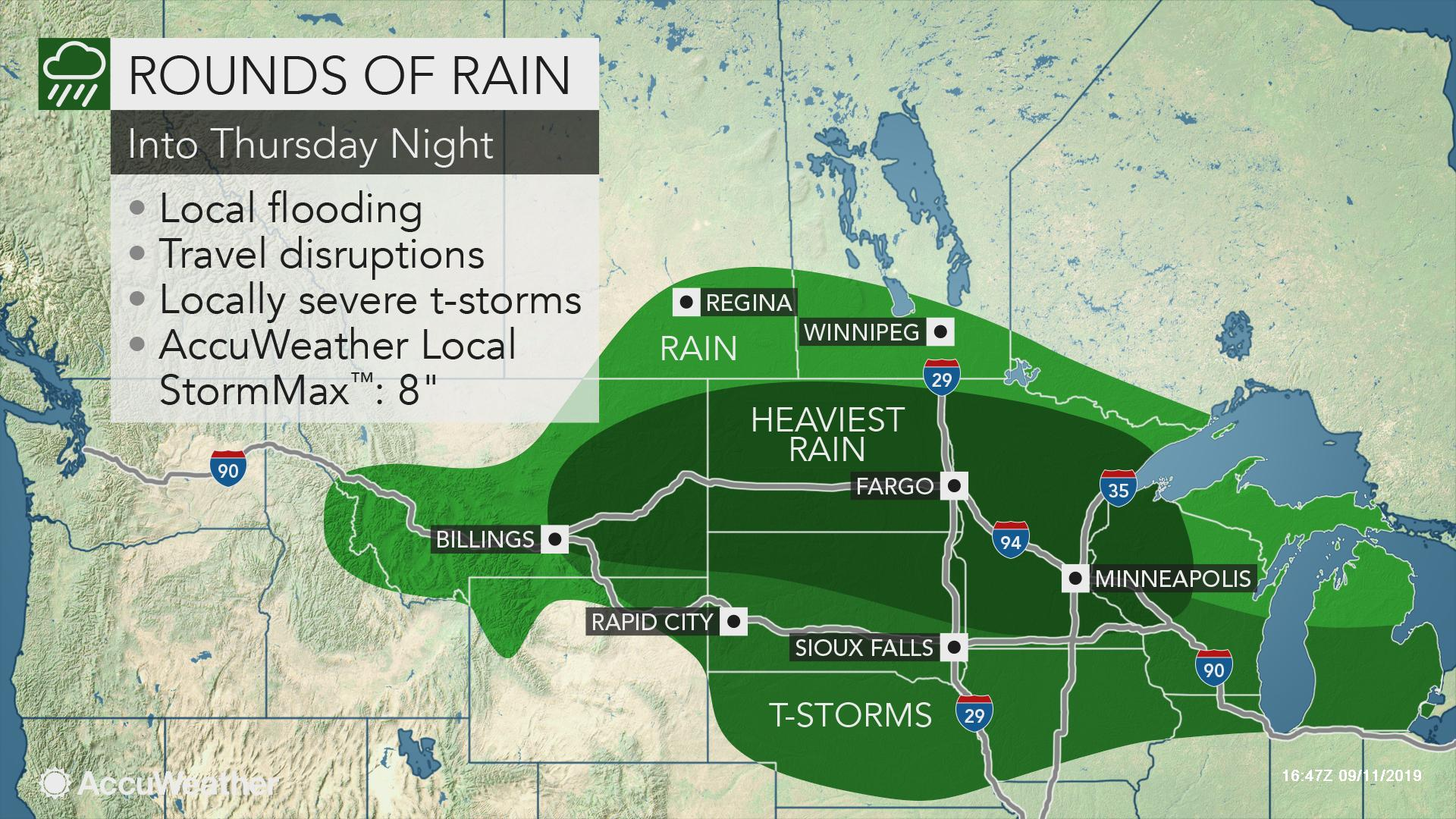 Rounds of rain, locally severe storms to threaten north