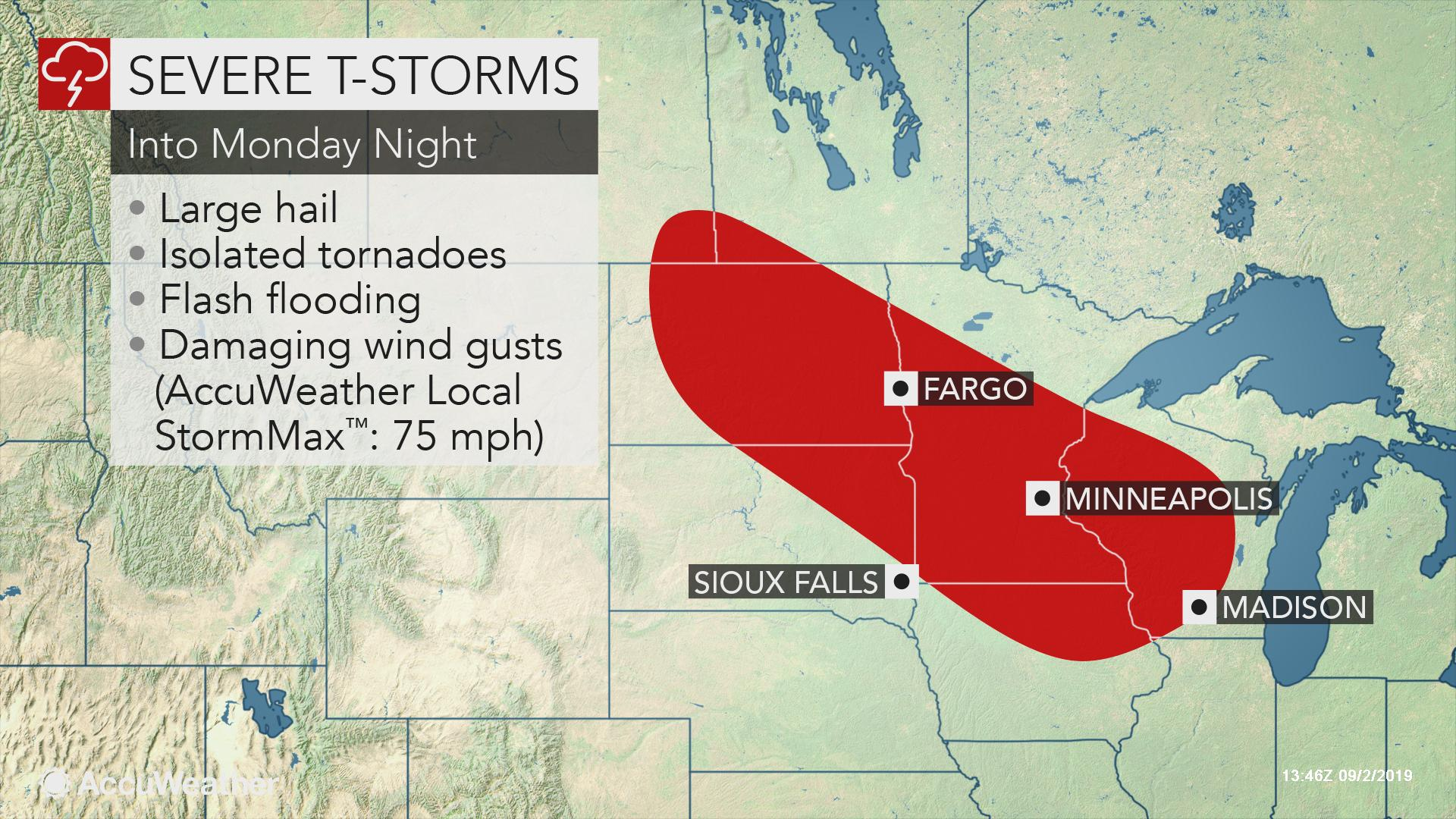 Severe storms to jolt portions of Midwest into Tuesday night