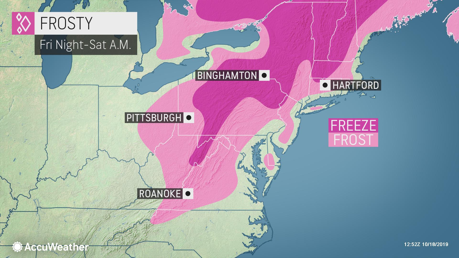 Coldest night of season so far to deliver frost to much of northeastern US