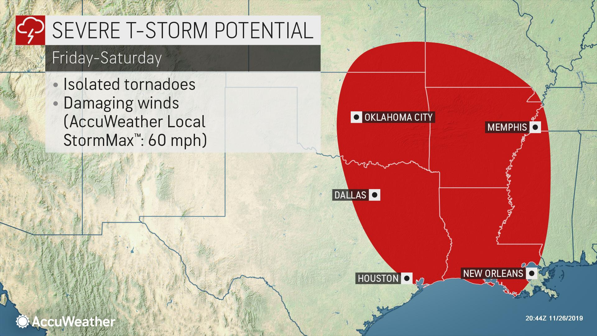 Far-reaching storm to stir severe weather risk in south-central US to end this week