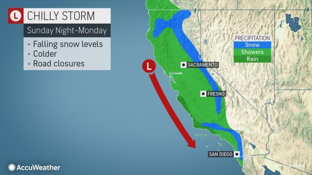 snowfall in california map Another Burst Of Rain Mountain Snow To Sideswipe California