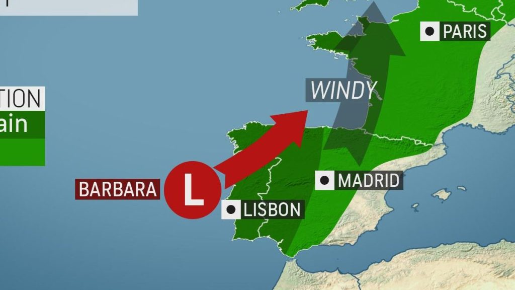 Potent storm triggers flooding in Ireland while Storm Barbara lashes Iberian Peninsula
