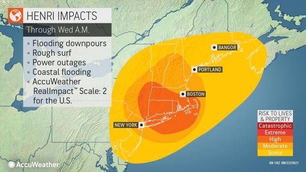 Tropical Storm Henri charging north toward rare New England landfall