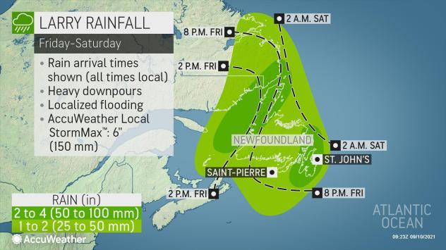 Hurricane Larry rainfall in Newfoundland Canada